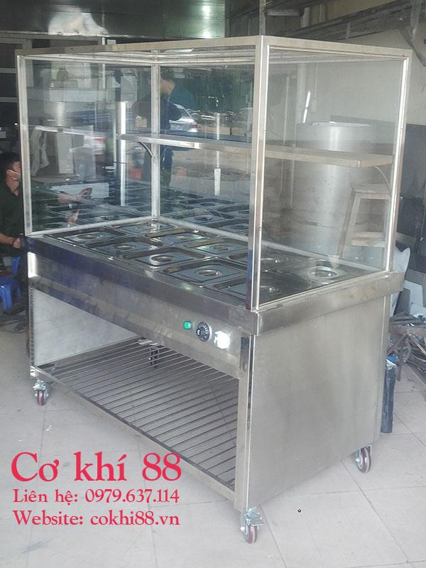 Tủ- Máy giữ nóng thức ăn 10 khay vip 1/2 có kính