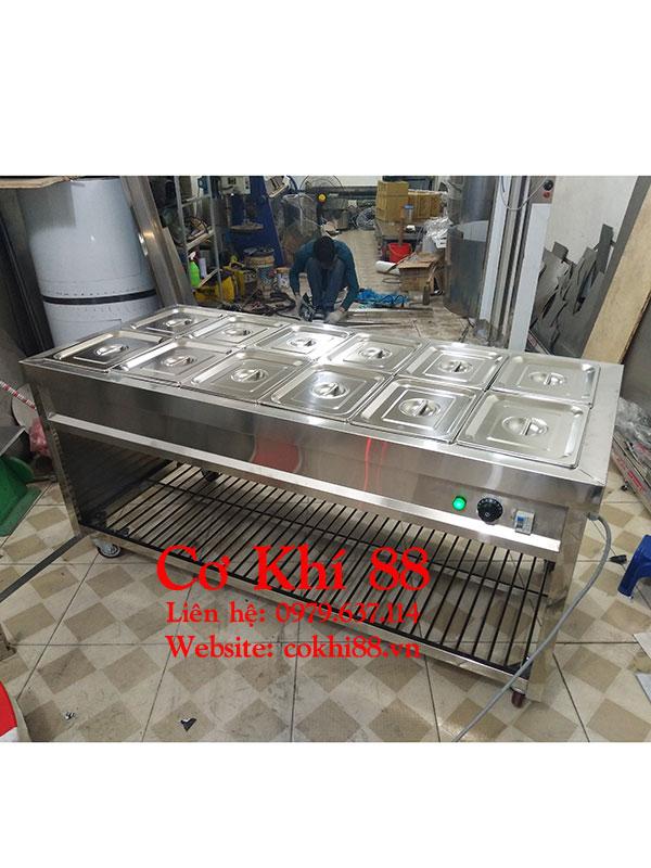 Tủ giữ nóng thức ăn 12 khay vip không kính